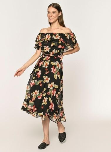 44965560b3328 ... Loves You Askılı Safari Çiçek Desenli Elbise Siyah